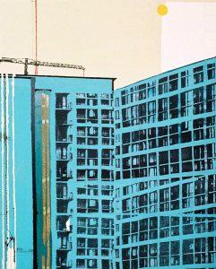Gradovi 1 / kombinirana tehnika / 130x105 cm / 2003.