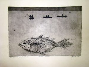 Prevelik zalogaj / bakropis-akvatinta / 2001.